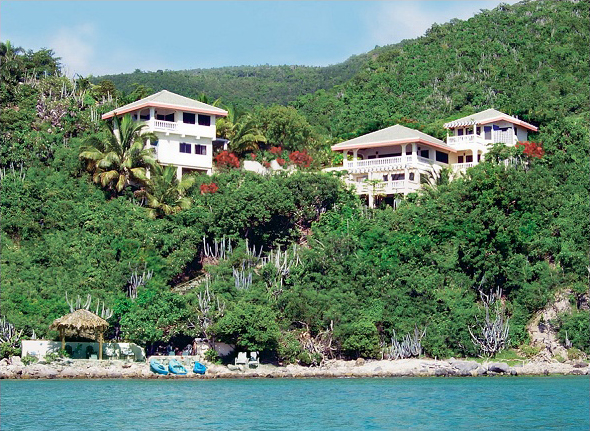 Entire private villa as seen from the bay.